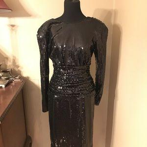 Tadashi Vintage Black Sequin Dress Gown Size 8